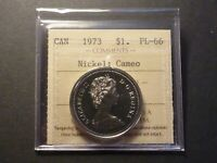 NICKEL DOLLAR 1973 PROOF LIKE STRIKE ICCS PL 66 CAMEO