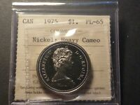 NICKEL DOLLAR 1975 PROOF LIKE STRIKE ICCS PL 65 HEAVY CAMEO