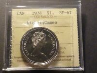 CANADA NICKEL DOLLAR 1974 SPECIMEN STRIKE ICCS SP 67 CAMEO