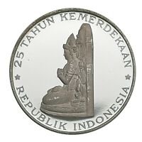 [NC] INDONESIA   250 RUPIAH 1970 PROOF ARGENTO SILVER 1000
