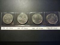 LOT OF FOUR BU NICKEL DOLLARS ERRORS ALL STRIKE THROUGH GREASE ERRORS