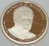 2014-S PRESIDENTIAL DOLLAR PROOF FRANKLIN ROOSEVELT GOLDEN  NO PROBLEM COIN