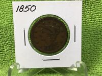 1850 LARGE CENT BRAIDED HAIR FULL LIBERTY  FINE