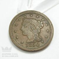1850 BRAIDED HAIR LARGE CENT 1C COIN VF DETAILS