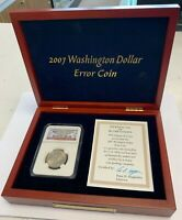 2007 NGC MINT STATE 64 WASHINGTON PRESIDENTIAL DOLLAR ERROR COIN MISSING EDGE LETTERS