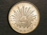 MEXICO 1892ZSFZ 8 REALES SILVER CROWN UNC
