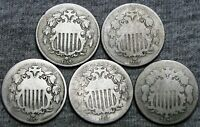 1866W/RAYS 1867 1867W/RAYS 18681870 SHIELD NICKELS ---  LOT --- V559BBB