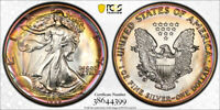 1989 AMERICAN SILVER EAGLE ASE PCGS MINT STATE 68   STUNNING UNIQUE PCI RAINBOW TONED