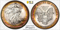 1993 AMERICAN SILVER EAGLE ASE PCGS MINT STATE 67   STUNNING UNIQUE PCI RAINBOW TONED