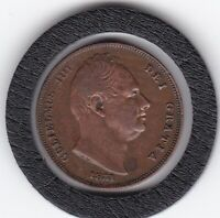 SHARP   1831    KING  WILLIAM   IV   FARTHING   COPPER  COIN