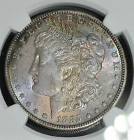 1885 P MORGAN SILVER DOLLAR - MINT STATE 63 NGC - LOVELY RAINBOW TONING - 4171