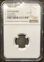 1805 DRAPED BUST LARGE EAGLE SILVER HALF DIME NGC FINE DETAILS CLEANED LM-1