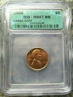ICG 1960 LARGE DATE MINT STATE 67 RD LINCOLN MEMORIAL CENT