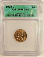 ICG 1973 D  MINT STATE 67 RD LINCOLN MEMORIAL CENT