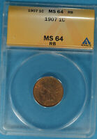 1907 INDIAN HEAD CENT ANACS MINT STATE 64RB-  TONE, EYE APPEAL