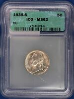 1938-S JEFFERSON NICKEL. ICG MINT STATE 62. ET1690A/JU