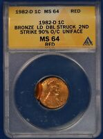 1982-D LINCOLN CENT. DOUBLE STRUCK. ANACS MINT STATE 64RD. ET1334A/JNC