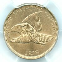 1858 SMALL LETTERS FLYING EAGLE CENT, PCGS MINT STATE 63