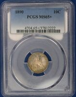 1890 SEATED LIBERTY DIME. PCGS MINT STATE 65. ATTRACTIVELY TONED. POP-1. SHOW140A/SCH
