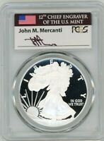 2019-W $1 PROOF SILVER EAGLE PR70 PCGS JOHN MERCANTI FLAG