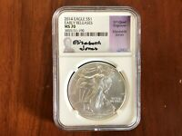 2014 $1 NGC MS70 ASE AMERICAN SILVER EAGLE ELIZABETH JONES EARLY RELEASES BU