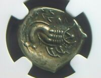 SILVER DRACHM FROM GAUL, TYPES OF MASSALLA 2ND CENTURY BC NGC EXTRA FINE  6014
