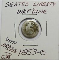 1853-O WITH ARROWS SILVER HALF DIME  167 YEARS OLD  COMBINED SHIPPING  LOT G33