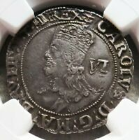 1638 1639 SILVER GREAT BRITAIN SIX PENCE KING CHARLES I COIN NGC FINE 30