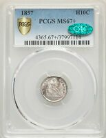 1857 US SILVER H10C SEATED LIBERTY HALF DIME - PCGS MINT STATE 67 - CAC
