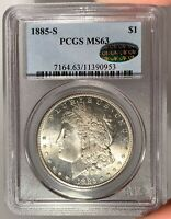 1885-S $1 PCGS MINT STATE 63 CAC MORGAN SILVER DOLLAR