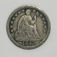 1847 SEATED LIBERTY SILVER HALF DIME H10C   G / VG GOOD TO V