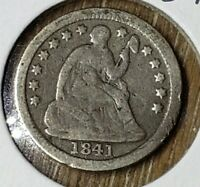 1841O SEATED LIBERTY HALF DIME  VF DETAILS