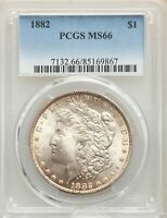 1882 US MORGAN SILVER DOLLAR $1 - PCGS MINT STATE 66