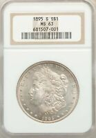 1895-S US MORGAN SILVER DOLLAR $1 - NGC MINT STATE 63