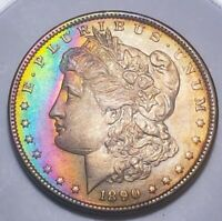 1890 MORGAN SILVER  DOLLAR RAINBOW TONING.  853