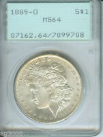 1885-O MORGAN SILVER DOLLAR PCGS MINT STATE 64 MINT STATE 64 OLD RATTLER HOLDER