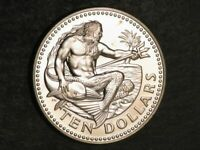 BARBADOS 1976 $10 NEPTUNE INDEPENDENCE SILVER PROOF