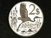 CAYMAN ISLANDS 1974 $2 HERON SILVER CROWN CHOICE PROOF