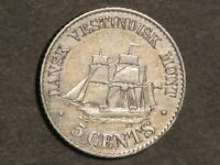 DANISH WEST INDIES 1879 5 CENTS SHIP SILVER VF XF