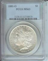 1881-O MORGAN SILVER DOLLAR S$1 PCGS MINT STATE 63 NEW ORLEANS MINT