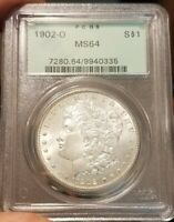1902-O MORGAN DOLLAR SILVER - PCGS MINT STATE 64 - OGH OLD GREEN HOLDER -  PURE WHITE