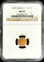 2009 GOLD GREAT BRITAIN 1/4 SOVEREIGN COIN NGC MINT STATE 70