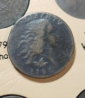 1793 WREATH FLOWING HAIR US LARGE CENT COLONIAL ERA COPPER F12 DETAILS CHAIN