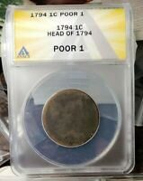 1794 FLOWING HAIR US LARGE CENT ANACS PO1 LOWEST GRADE COLONIAL COPPER