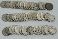 1946 1964 90  SILVER US ROOSEVELT DIME ROLL LOT OF 50 COINS.