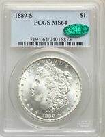 1889-S US MORGAN SILVER DOLLAR $1 - PCGS MINT STATE 64 - CAC