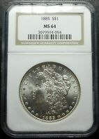 1885 P $1 MORGAN DOLLAR NGC MINT STATE 64