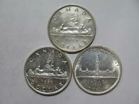 CANADA SILVER DOLLARS $1 WORLD COIN LOT  3  LOW GRADE A