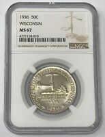 1936 WISCONSIN COMMEMORATIVE SILVER HALF DOLLAR NGC MINT STATE 67