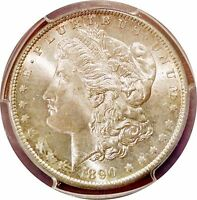 1890-S MORGAN SILVER DOLLAR $1 - PCGS MINT STATE 64 - BLAST WHITE GEM  EASILY A 65